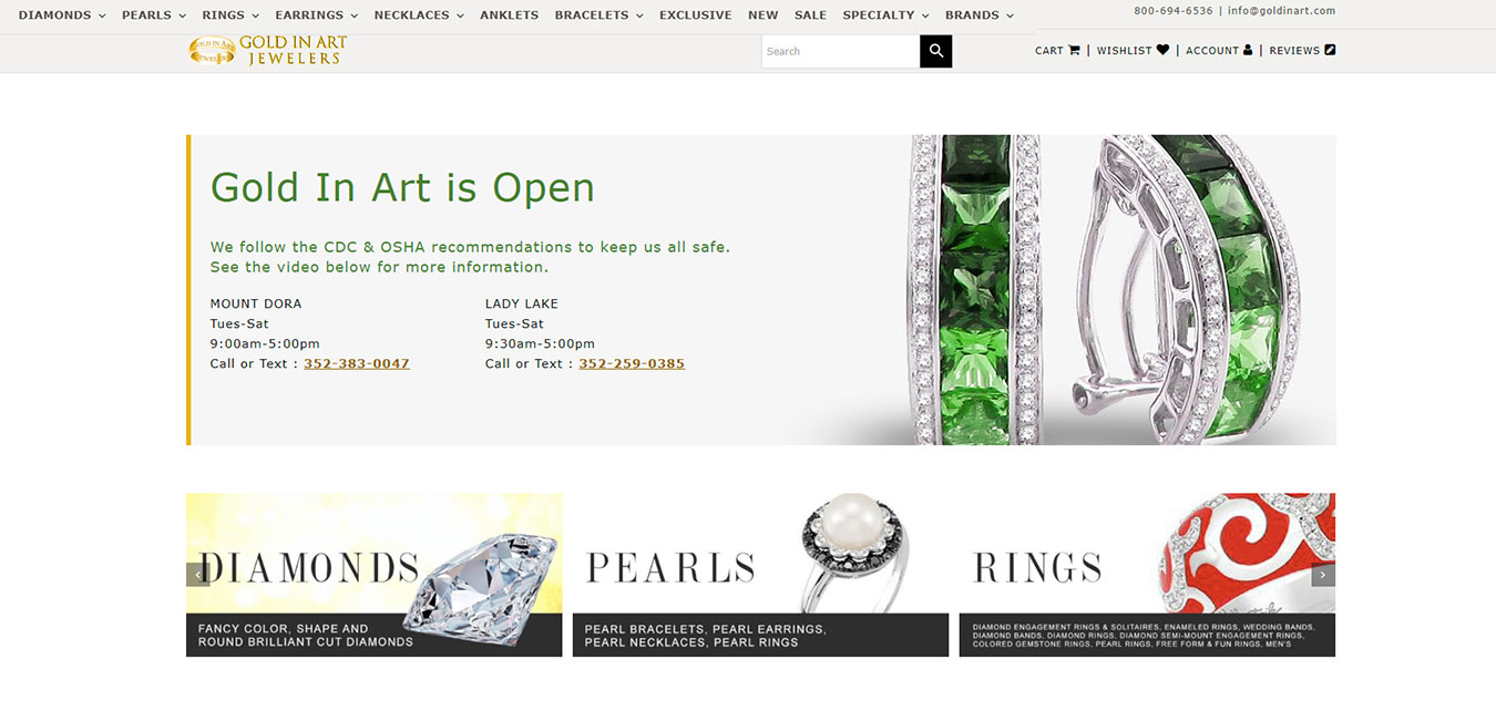Website screenshot, jewelry store with locations in in Mt. Dora, FL and Lady Lake, FL