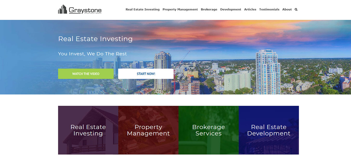 GraystoneIG.com screenshot, real estate company in Tampa. FL
