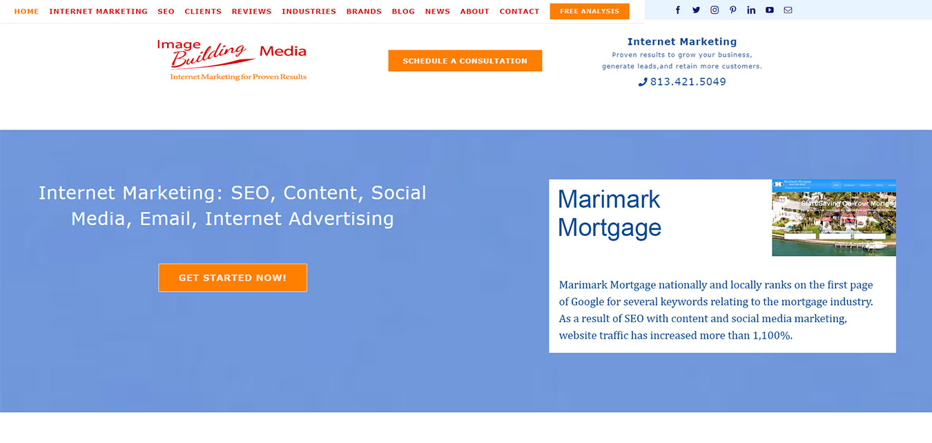 Website screenshot, internet marketing company based in Tampa, Florida