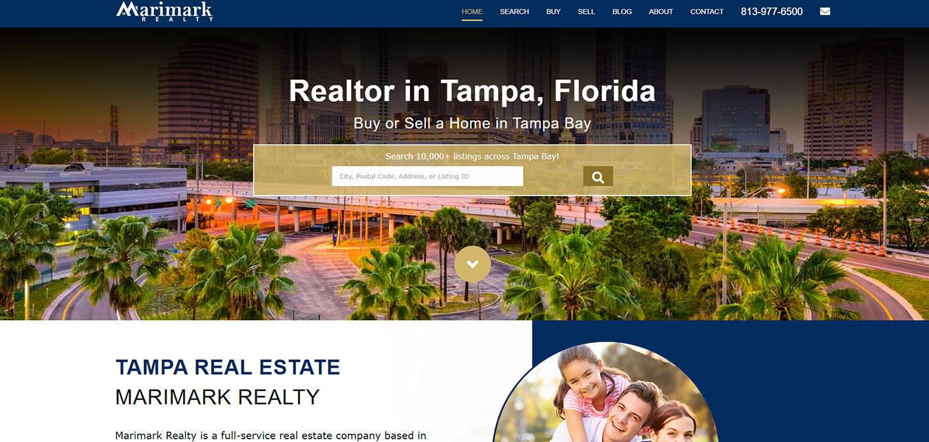 Website screenshot, real estate agency in Tampa, FL