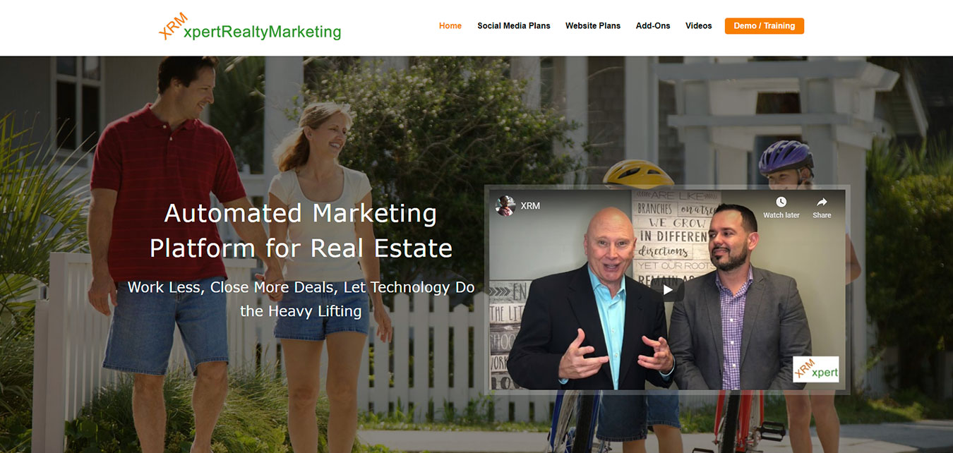 xpertRealtyMarketing.com screenshot, Automated Marketing Platform for Real Estate